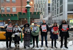 BMCC Crew at it again, flyering the Public Advocate debate in the snow